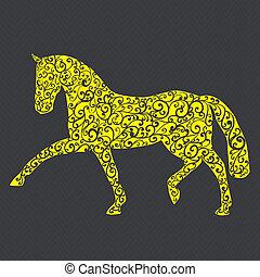 stilvoll, abbildung, pferd, gemacht