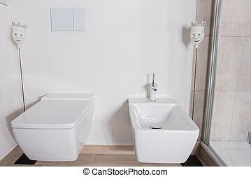 Stilvoll, Badezimmer, Bidet, Klo, Weißes