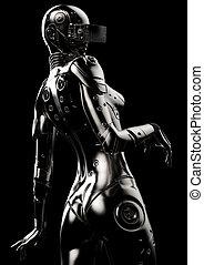 stilvoll, cyborg, 3d, illustration., woman.