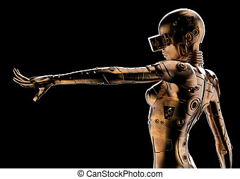stilvoll, cyborg, 3d, illustration., woman.