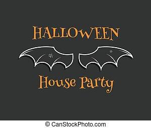 stilvoll, einmalig, fledermaus, hintergrund., glücklich, halloween, bringen partei, card., plakat, und, banner., wohnung, dunkel, design, für, feier, halloween., vektor