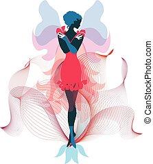 stilvoll, fee, silhouette, zeitgenössisch, digital