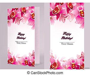 stilvoll, geburstagskarte, orchidee