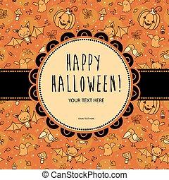 stilvoll, halloween, karte, vector.