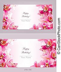 stilvoll, horizontal, geburstagskarte, orchidee