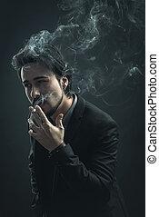 stilvoll, junger mann, rauchen zigarette