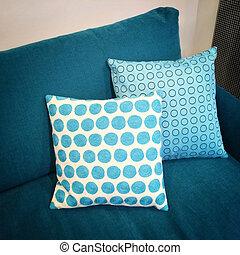 Blaues Sofa Weisses Kissen Blaues Dekorativ Furniture Cushions