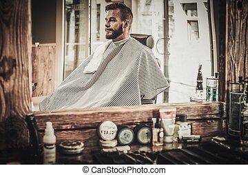 stilvoll, mann, in, a, frisörgeschäft