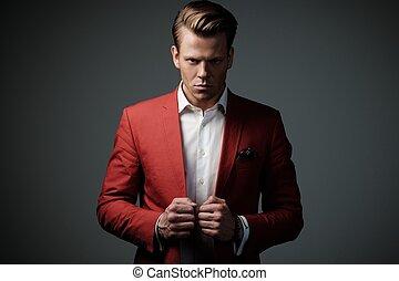 stilvoll, mann, in, rote jacke