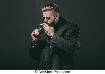 stilvoll, mann- rauchen, zigarette