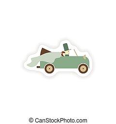 stilvoll, papier, aufkleber, weiß, hintergrund, stallknecht, und, braut, auto