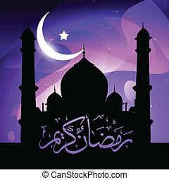 stilvoll, ramadan, kareem, vektor