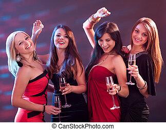 stilvoll, toasten, champagner, frauen