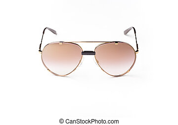 stilysh brown sunglasses isolated against a white background