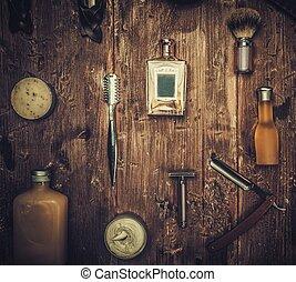 stimmung, brett, mit, rasieren, accessoirs