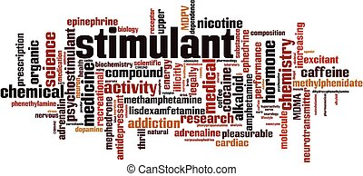 Stimulant word cloud concept. Collage made of words about ...