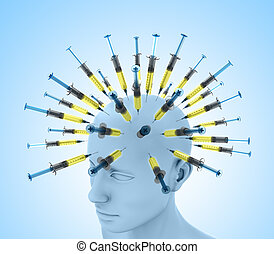 Stimulate - Several injections in a brain, concept of ...