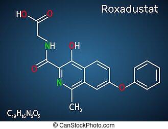 stimulates, inhibitor, roxadustat, blod, mörk, formel, blå, ...