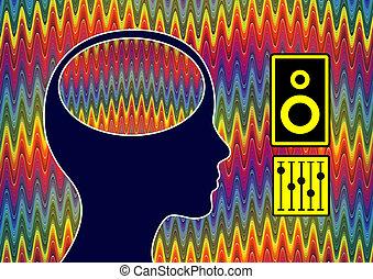 stimulation, cerveau, musique