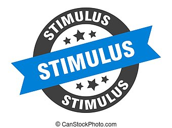 stimulus sign. round ribbon sticker. isolated tag