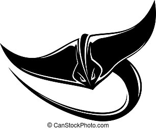 Sting ray or manta ray with a curving tail - Black and white...