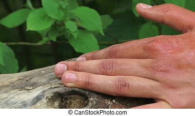Stinging nettle - Nettle sting on a hand. Close-up