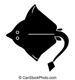 Stingray icon, vector illustration, black sign on isolated background