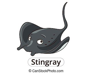 Stingray sea animal fish cartoon illustration - Stingray sea...
