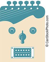 stinkande, gitarr, ansikte