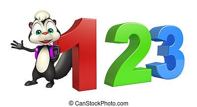 stinktier, karikatur, zeichen, mit, 123, zeichen, und, schulen sack
