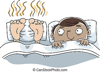 A cartoon man is unable to sleep because of the stinky feet next to him.