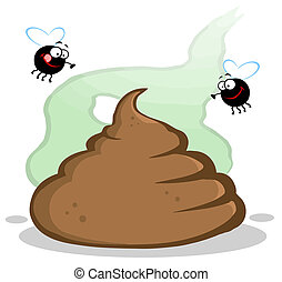 Stinky Pile Of Poop With Two Flies Cartoon Character