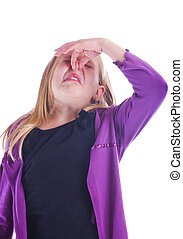 Stinky - stinky smell with girl holding her nose and...