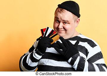 stiped, karta, skradziony, zbrodnia, kredyt, pojęcie, dzierżawa, odzież, człowiek