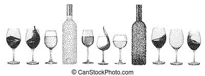 stipple, jogo, abstratos, isolado, cobrança, vidro, objetos, vetorial, vinho