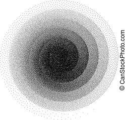 stipple, pontos, padrão, abstratos, espiral, halftone, experiência., pretas, branca