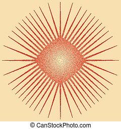 stipple, sol, diseño, efecto, explosión