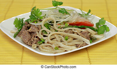 Stir Fried beef with pasta - Stir Fried beef with hand made...