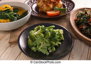 Stir fried broccoli or cah brokoli. asian indonesian food