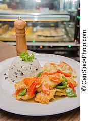 Stir fried chicken wiht rice