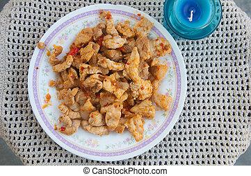 Stir-fried chicken with chilli