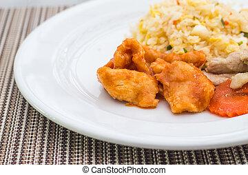 Stir fried chicken with rice