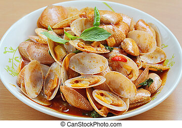 food - Stir fried clams with roasted chili paste is Thailand...