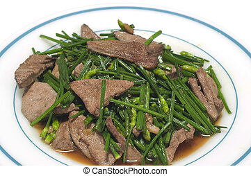 Stir-fried green Chinese chives.