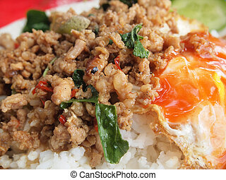 Stir-fried minced pork with holy basil and steamed rice