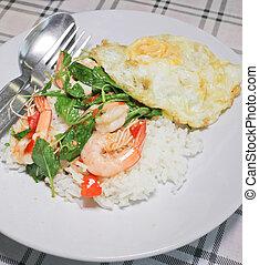 stir fried shrimp in holy basil - thai food