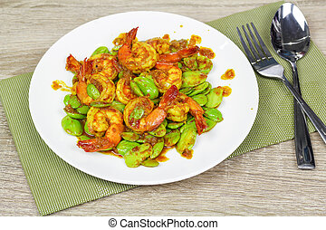 stir fried stink bean or bitter bean with shrimps
