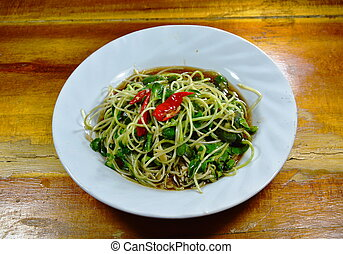stir fried sunflower sprout on dish