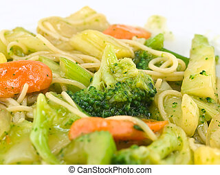 Stir Fried Vegetables and Noodles in a Light Sauce