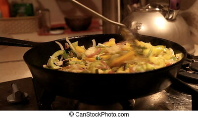 stir fried vegetables in the pan - stir fried vegetables in...